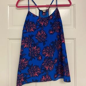 J.Crew Cami - Blue with pink & navy flower pattern